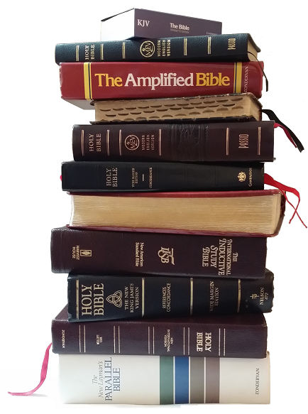 Stack of Bible Versions 434x583